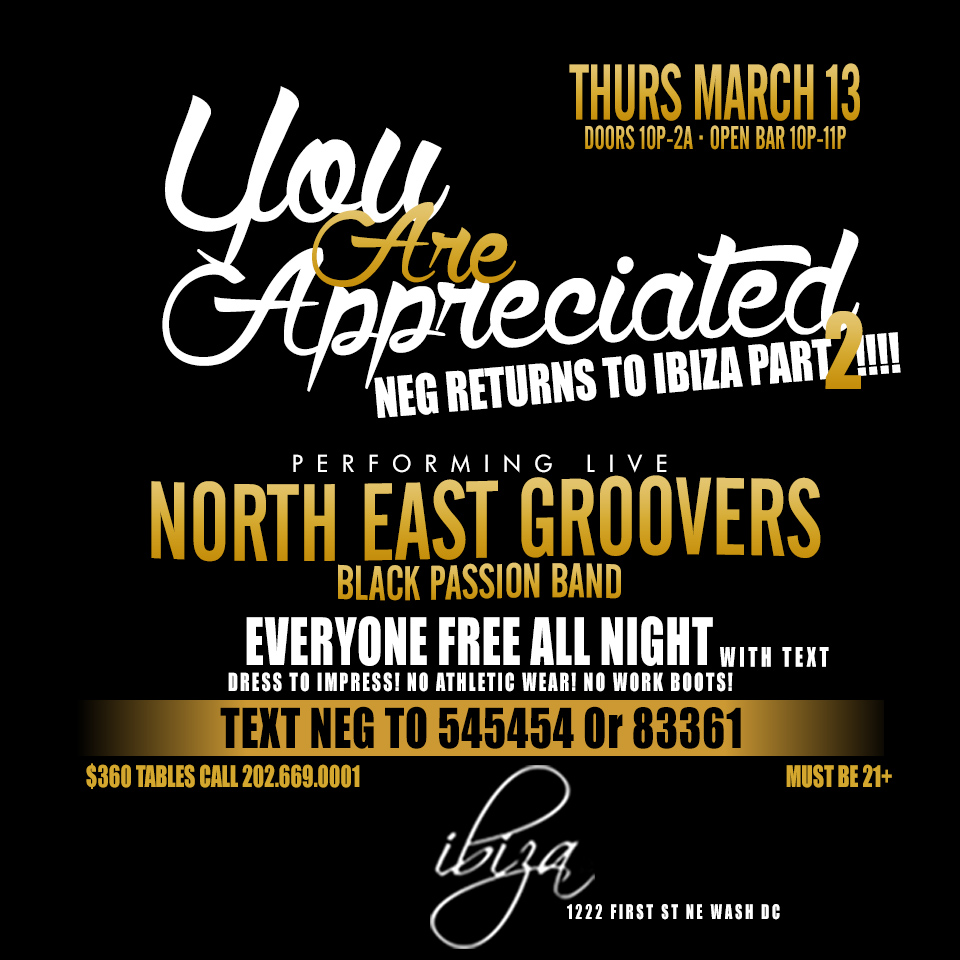 Northeast Groovers | Ibiza Thursdays | Starting March 13 @ Ibiza | Washington | District of Columbia | United States