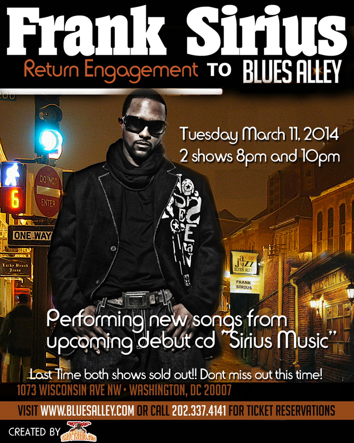 Frank Sirius Return Engagement to Blues Alley | March 11 @ Blues Alley | Washington | District of Columbia | United States